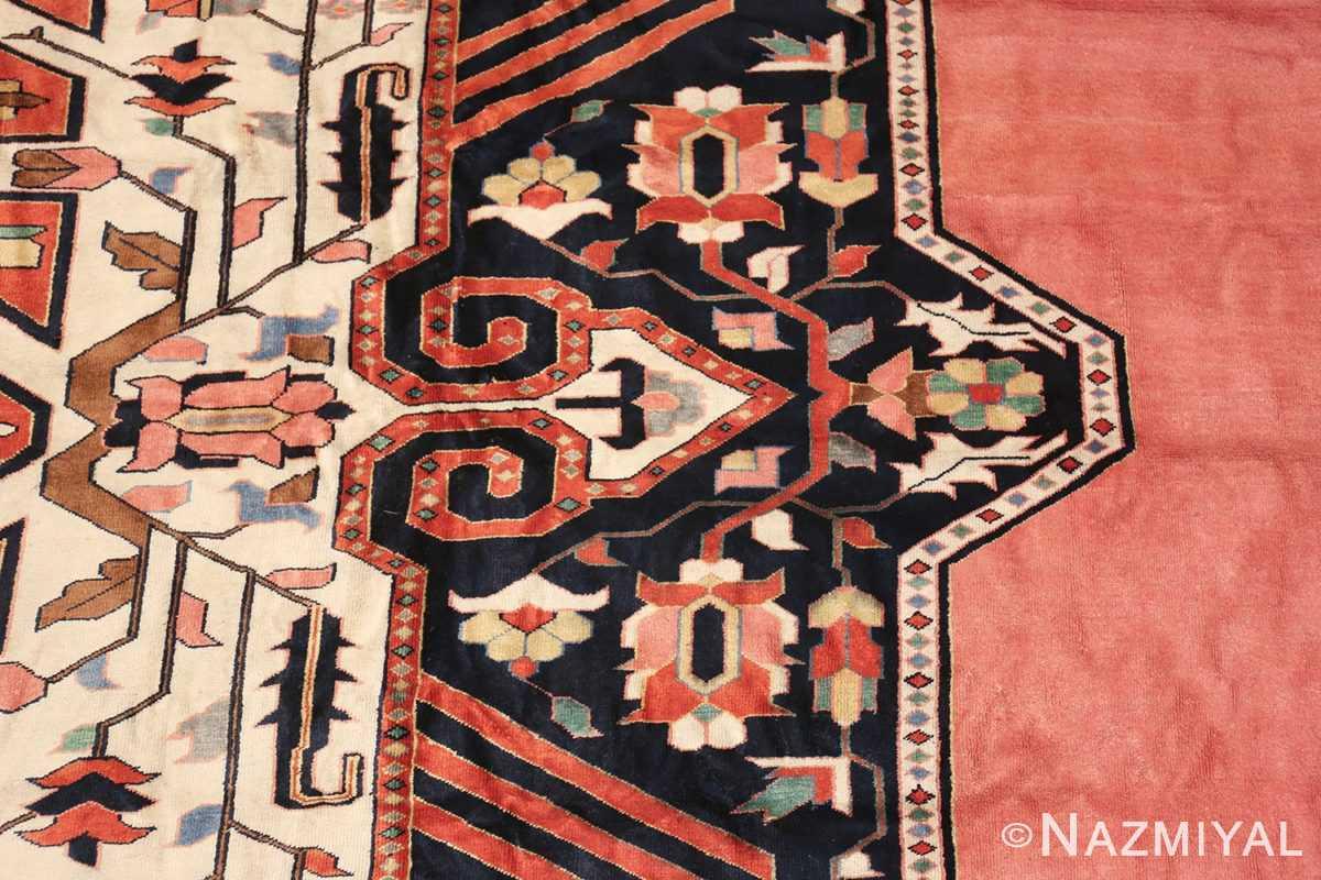 large silk vintage qum persian rug 60034 flower Nazmiyal