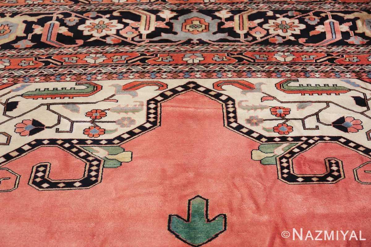 large silk vintage qum persian rug 60034 green Nazmiyal