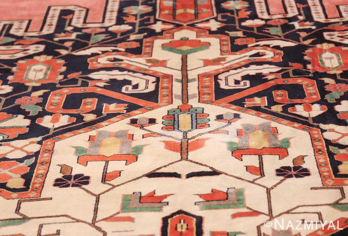 large silk vintage qum persian rug 60034 ivory Namziyal