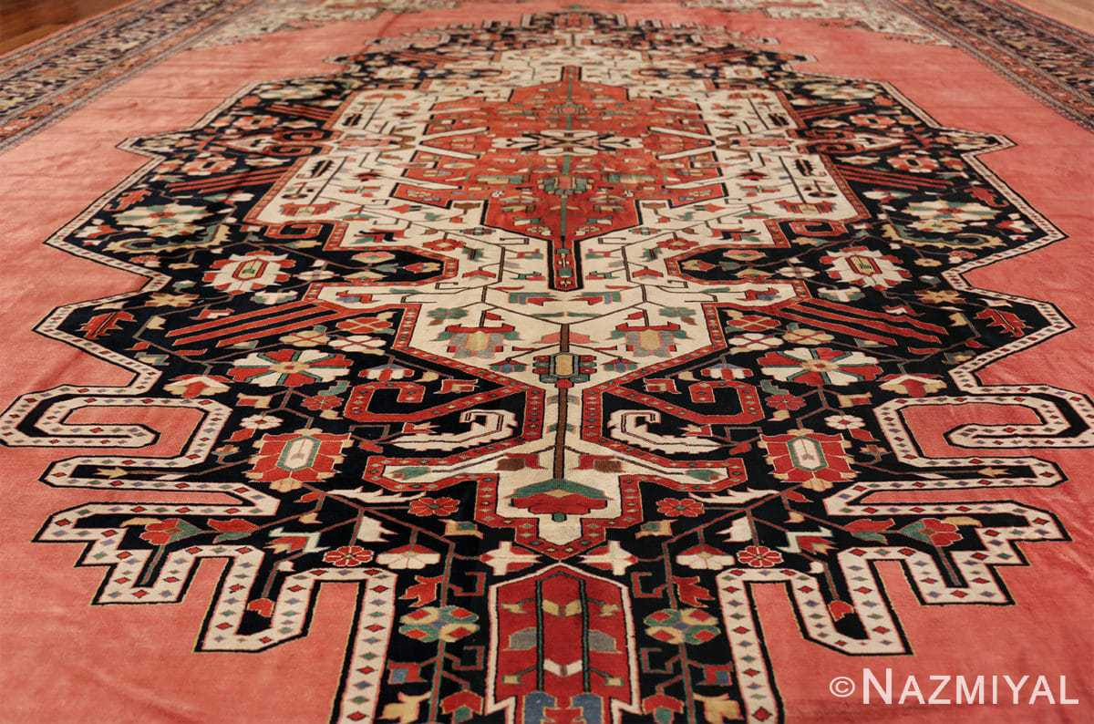 large silk vintage qum persian rug 60034 medallion Nazmiyal