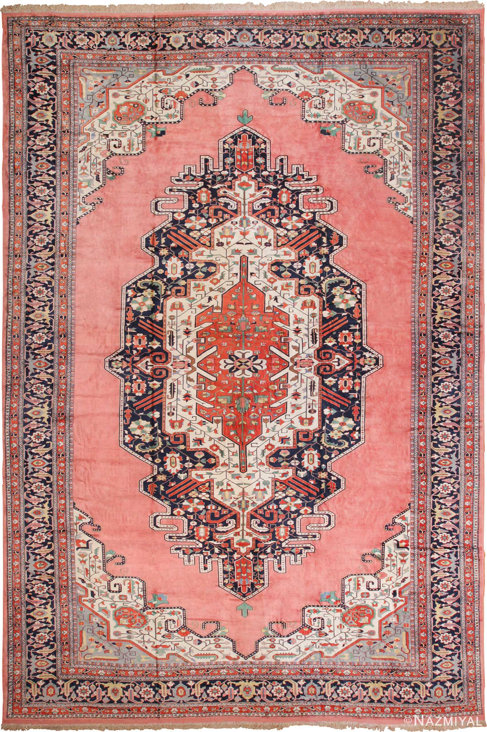 Large Vintage Persian Silk Heriz Rug 60034 Nazmiyal Rugs