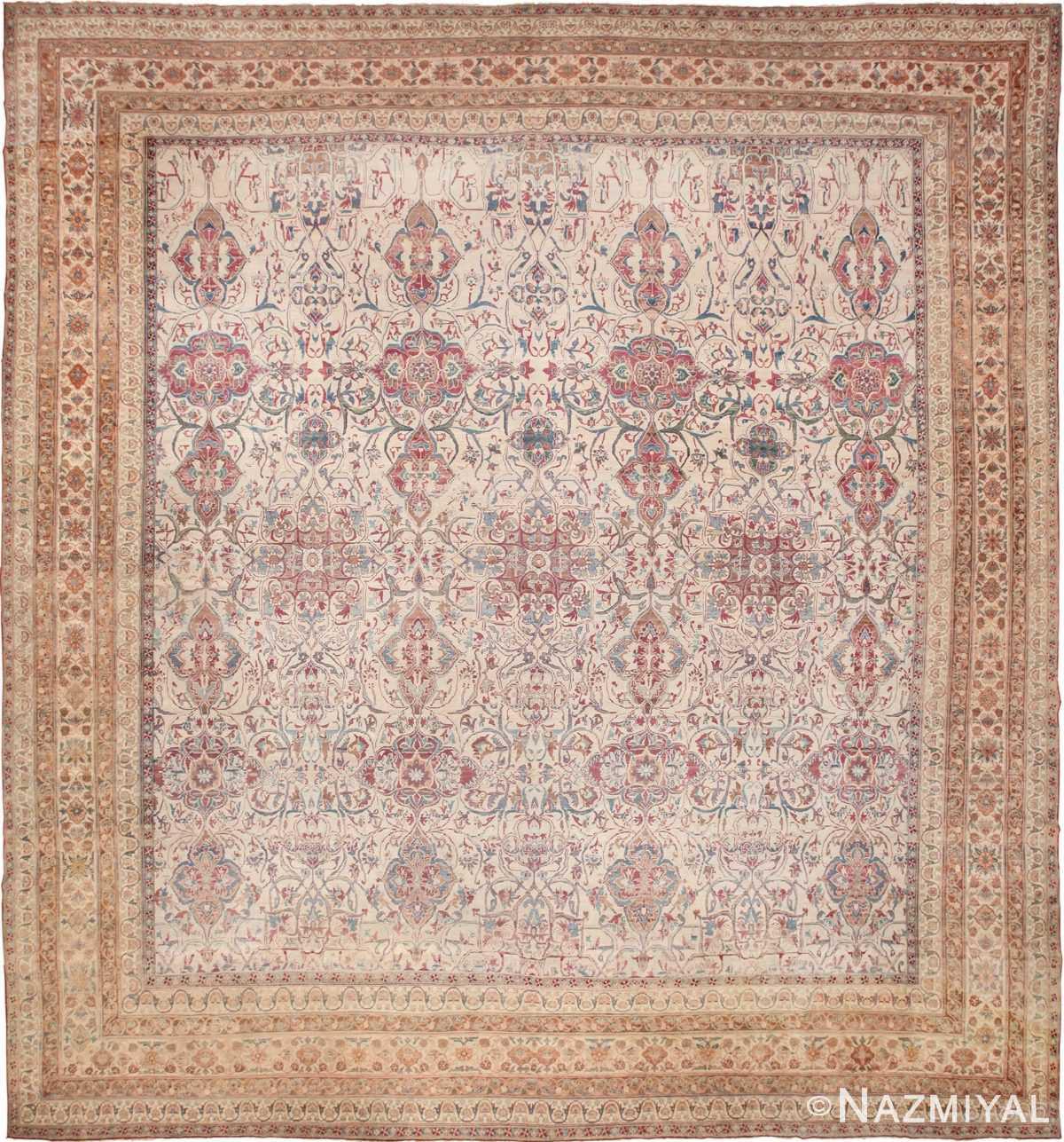 Large Square Antique Persian Kerman Rug 49676 by Nazmiyal