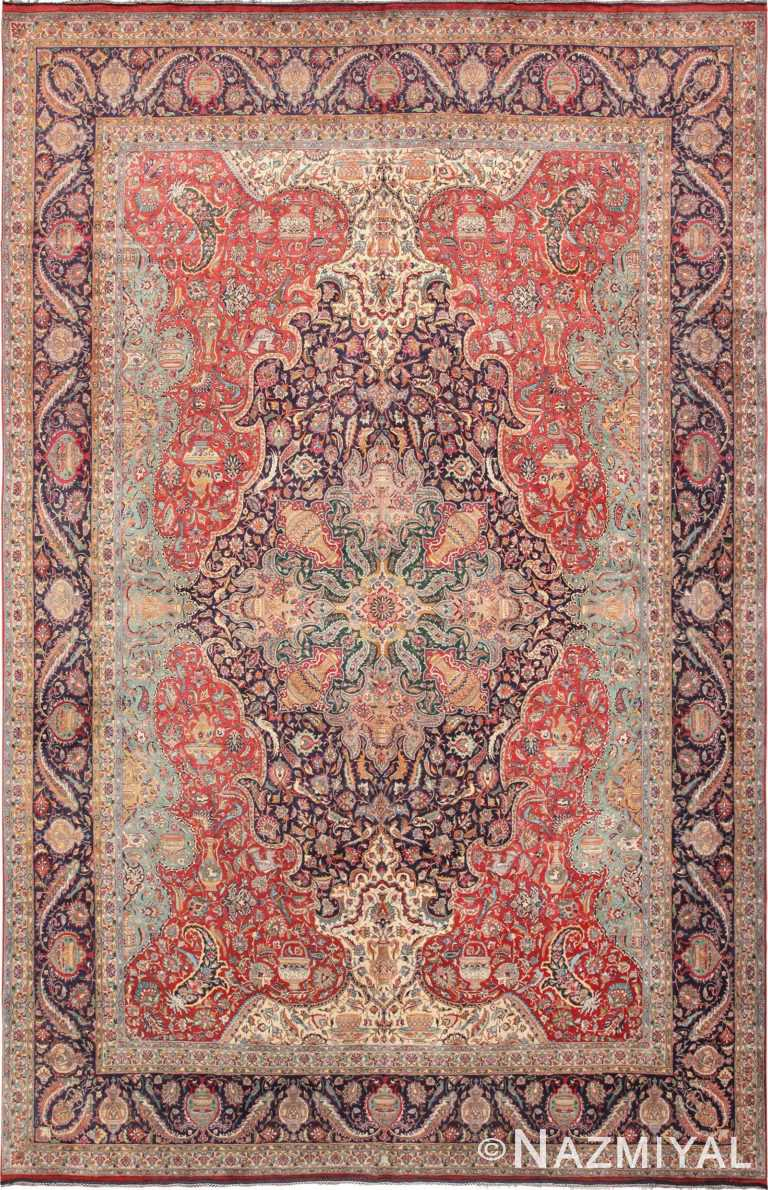 Large Jewel Tone Vintage Persian Tabriz Rug 60041 by Nazmiyal