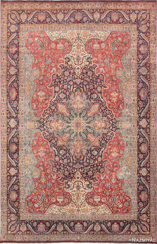 Large Jewel Tone Vintage Persian Tabriz Rug 60041 by Nazmiyal