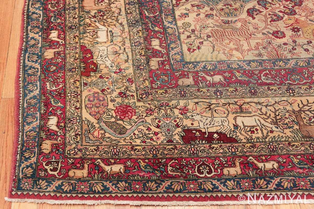 mythical antique tree of life design persian tehran rug 49197 corner Nazmiyal