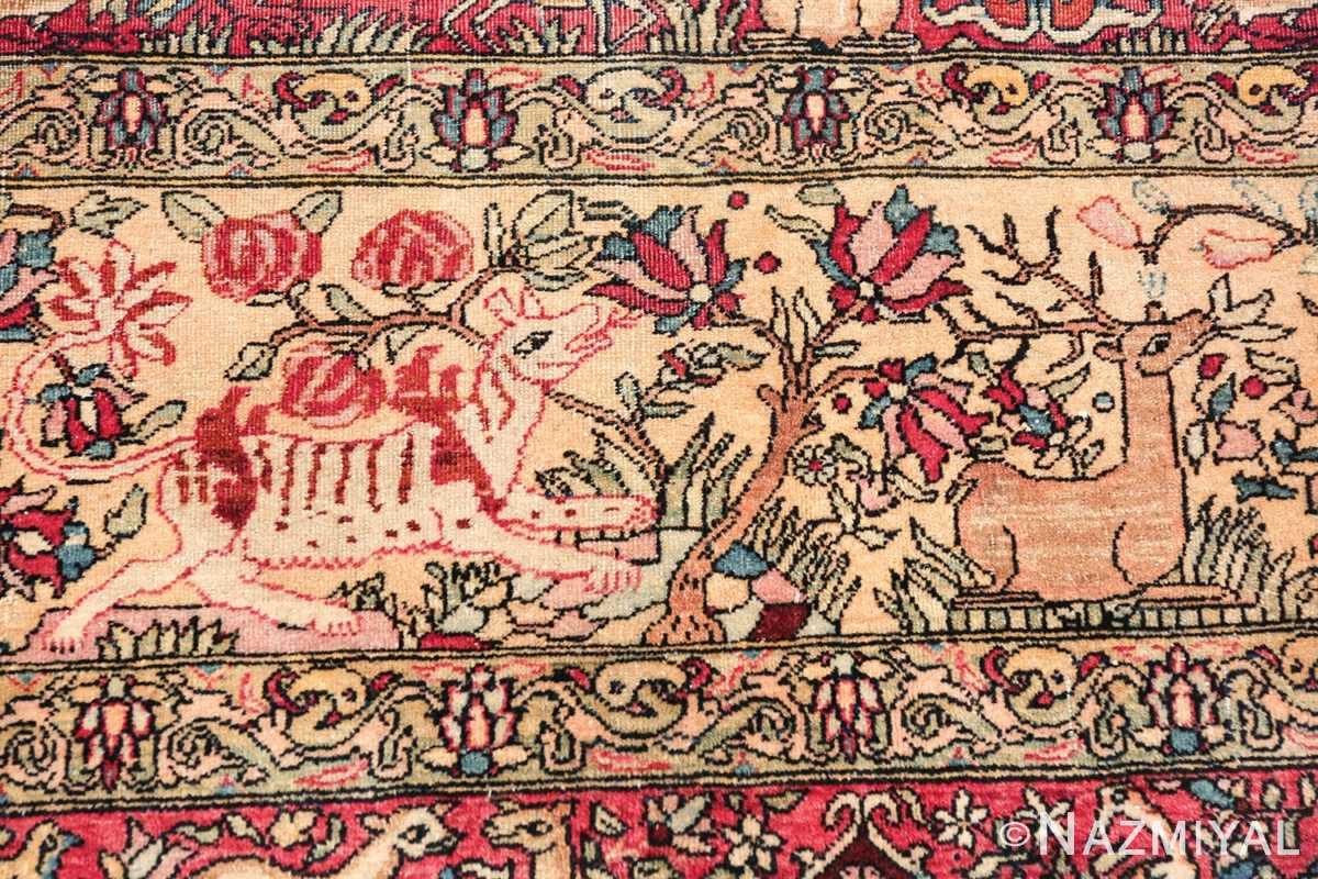 mythical antique tree of life design persian tehran rug 49197 deer Nazmiyal