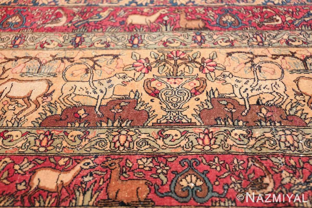 mythical antique tree of life design persian tehran rug 49197 lions Nazmiyal