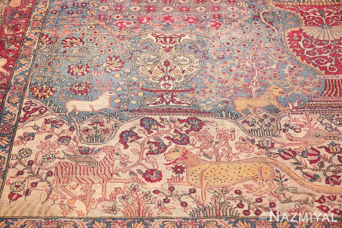 mythical antique tree of life design persian tehran rug 49197 side Nazmiyal