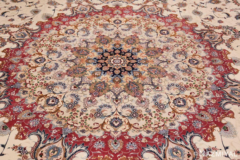 oversize silk and wool vintage persian tabriz rug 60024 closeup Nazmiyal