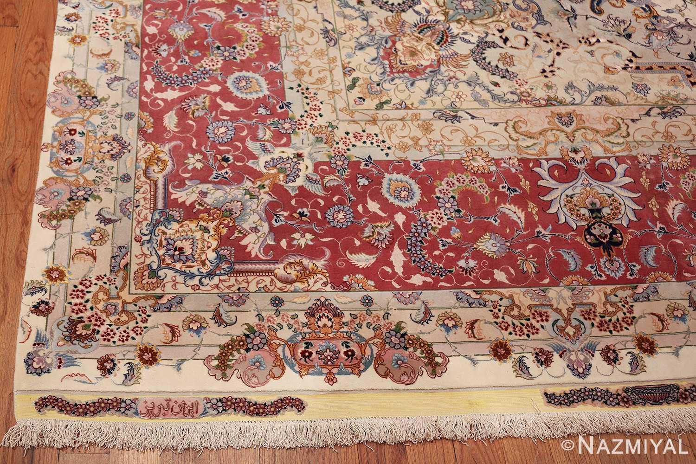 oversize silk and wool vintage persian tabriz rug 60024 corner Nazmiyal