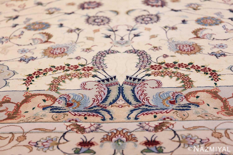 oversize silk and wool vintage persian tabriz rug 60024 horn Nazmiyal