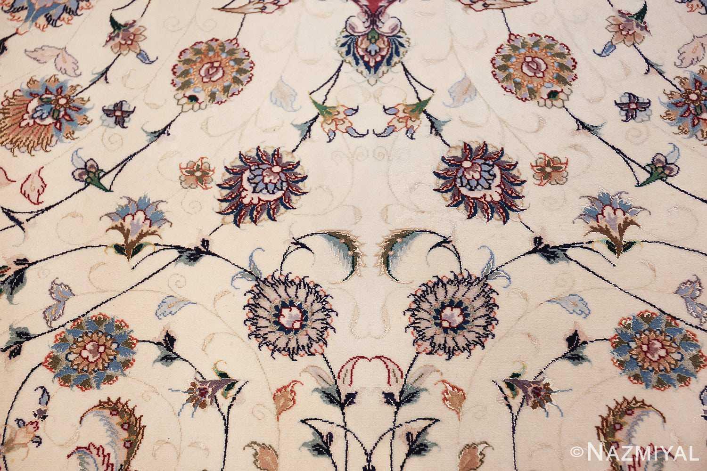 oversize silk and wool vintage persian tabriz rug 60024 ivory Nazmiyal