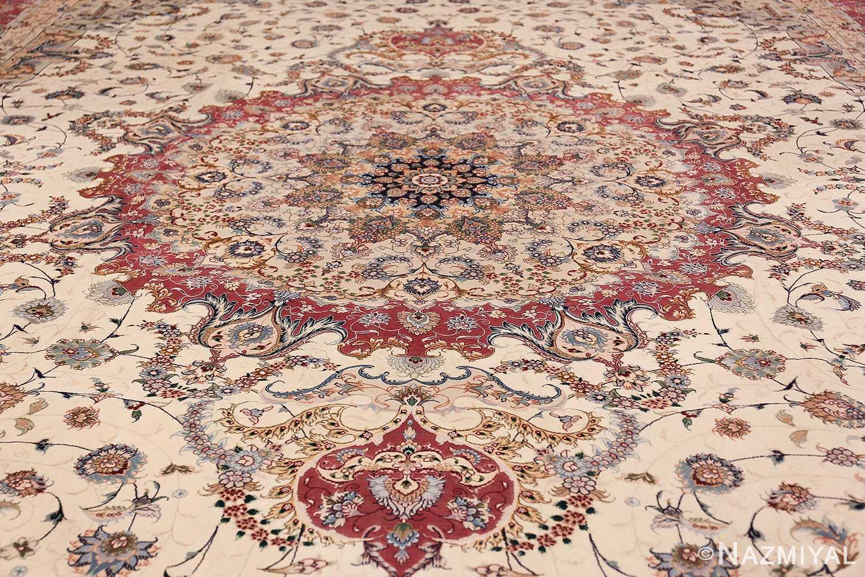 oversize silk and wool vintage persian tabriz rug 60024 medallion Nazmiyal