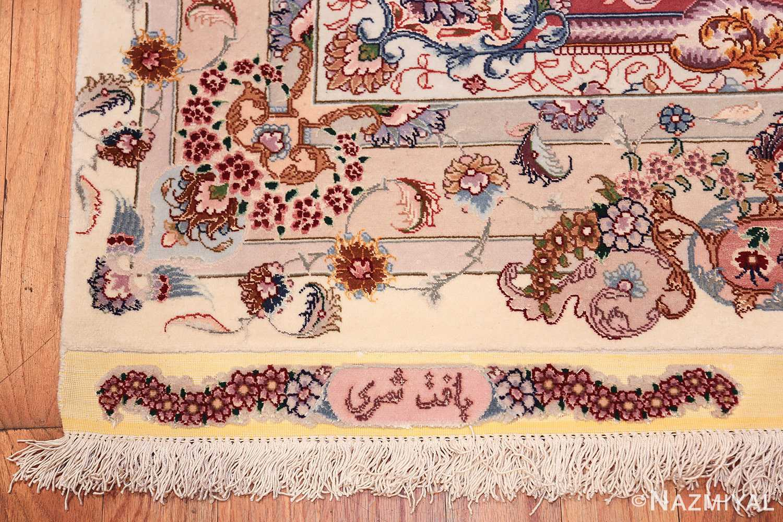 oversize silk and wool vintage persian tabriz rug 60024 name Nazmiyal