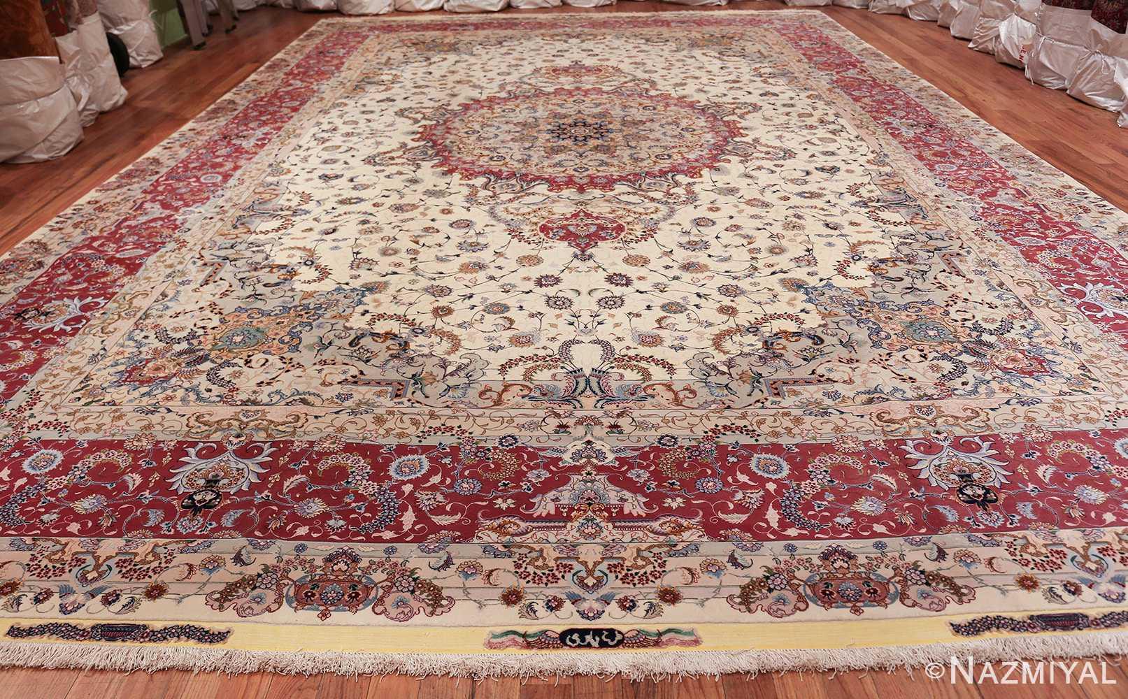 oversize silk and wool vintage persian tabriz rug 60024 whole Nazmiyal