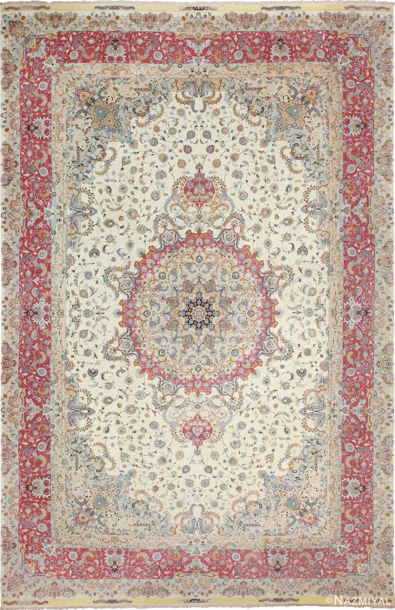 Large Oversized Vintage Wool and Silk Persian Tabriz Rug 60024 by Nazmiyal