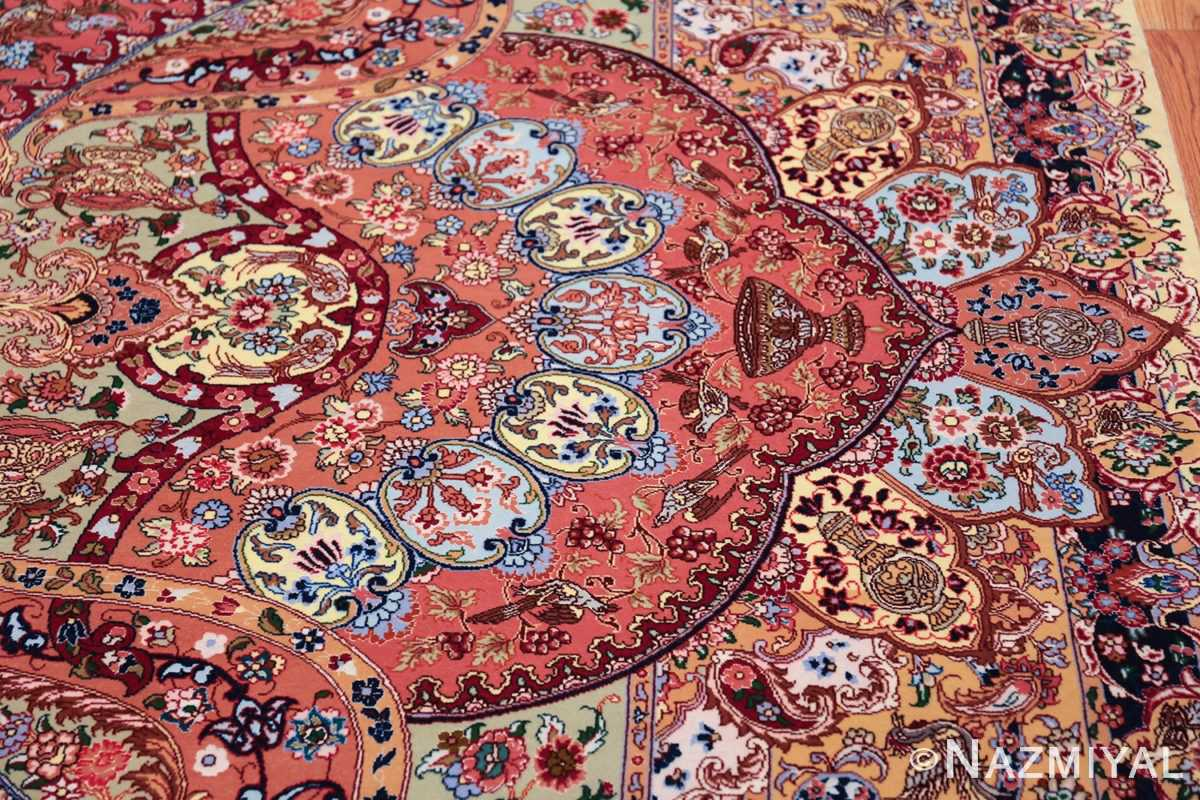 silk and wool large geometric vintage tabriz persian rug 60033 border Nazmiyal