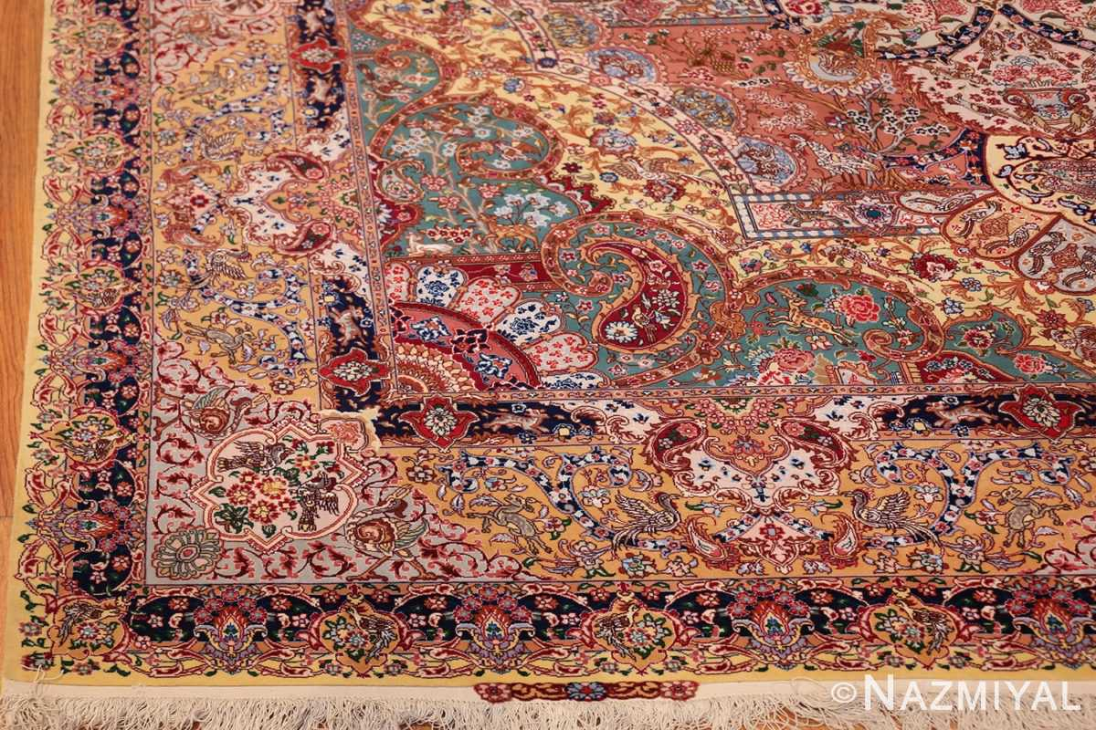 silk and wool large geometric vintage tabriz persian rug 60033 corner Nazmiyal