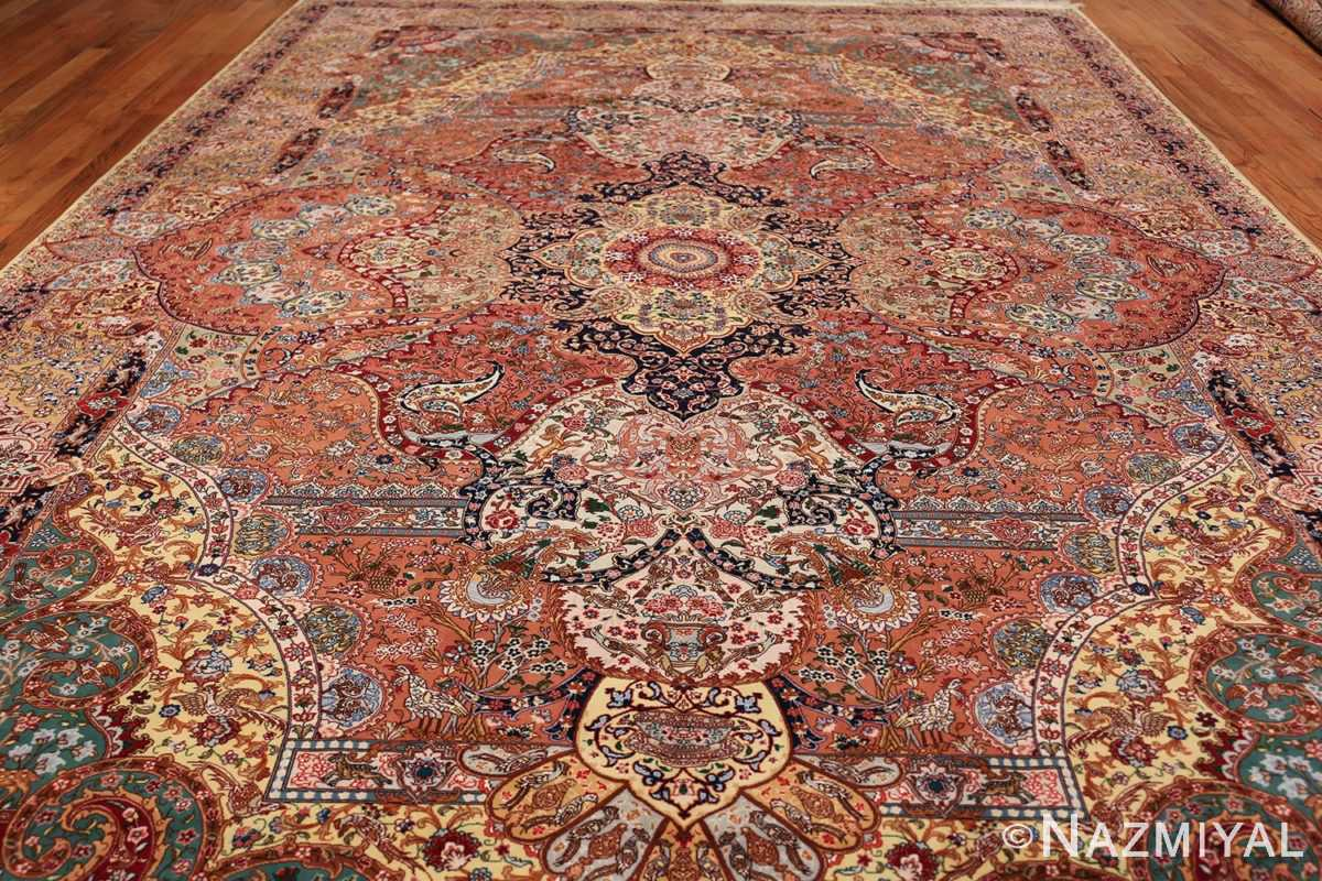 silk and wool large geomteric vintage tabriz persian rug 60033 field Nazmiyal