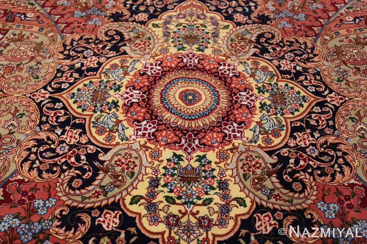 silk and wool large geometric vintage tabriz persian rug 60033 medallion Nazmiyal