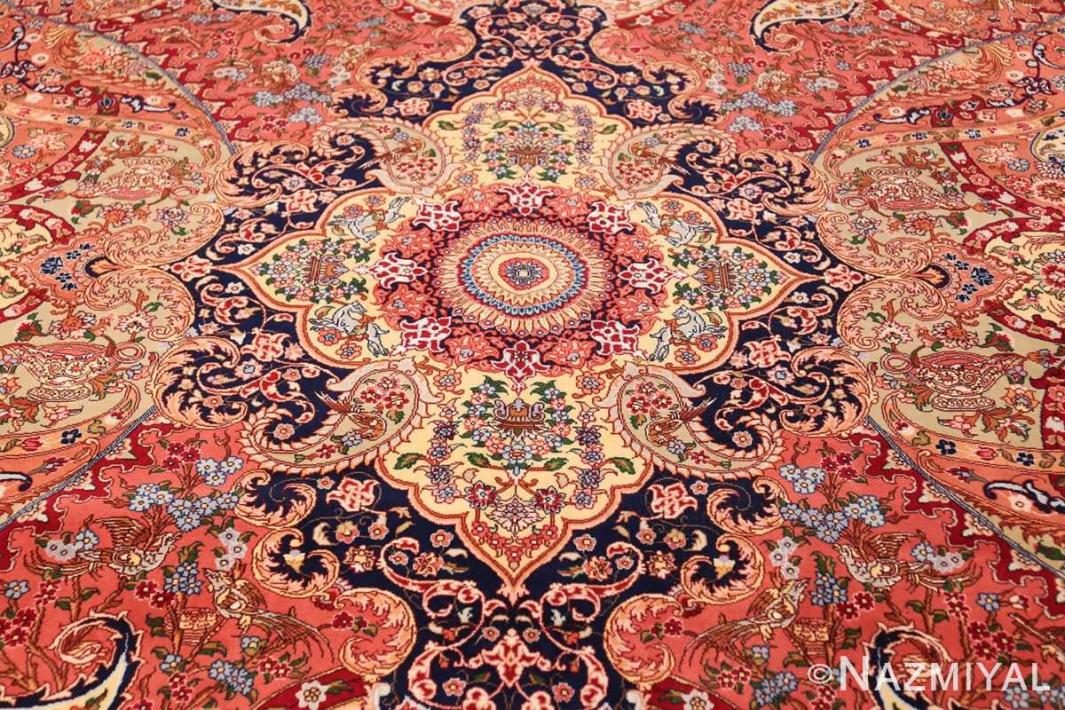 silk and wool large geometric vintage tabriz persian rug 60033 middle Nazmiyal