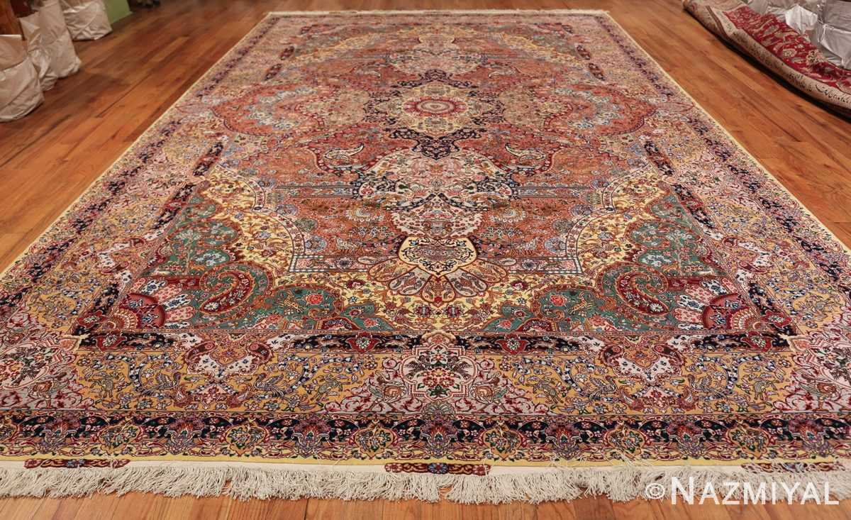 silk and wool large geometric vintage tabriz persian rug 60033 whole Nazmiyal