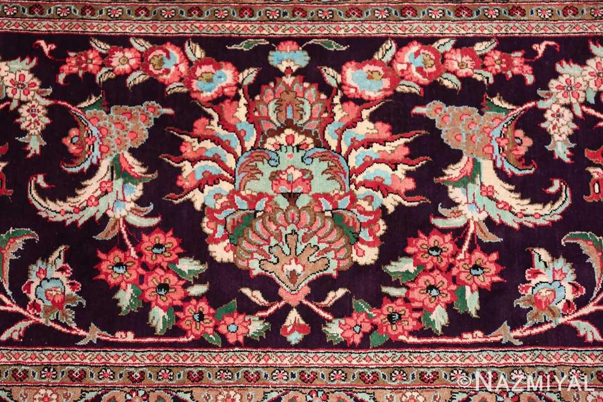 large silk vintage qum persian rug 60022 green Nazmiyal