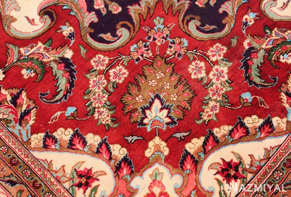 large silk vintage qum persian rug 60022 ivory Nazmiyal