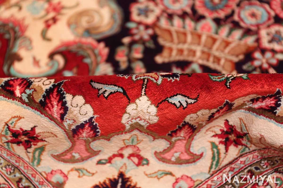 large silk vintage qum persian rug 60022 pile Nazmiyal