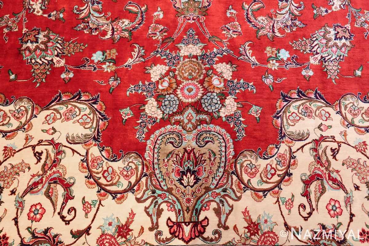 large silk vintage qum persian rug 60022 vase Nazmiyal