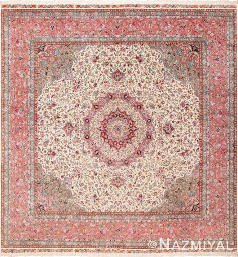 Square Floral Silk and Wool Vintage Tabriz Persian Rug 60021 by Nazmiyal