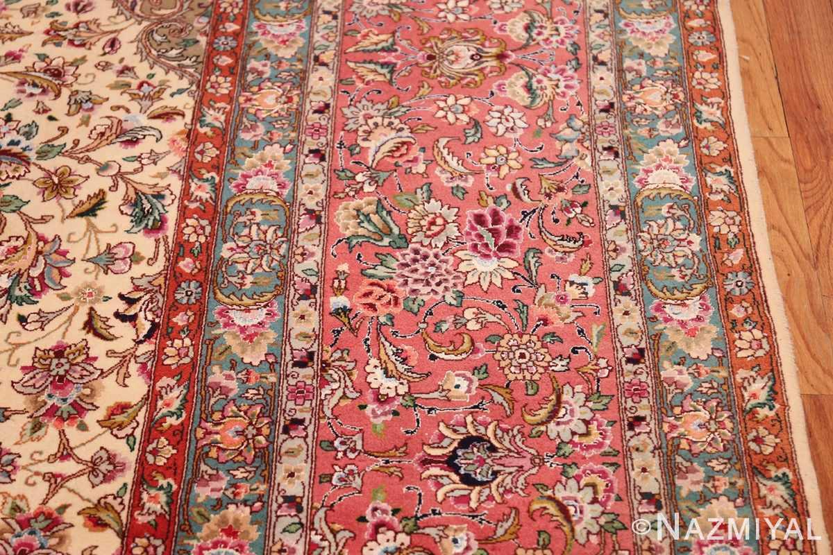 square floral silk and wool vintage tabriz persian rug 60021 border Nazmiyal
