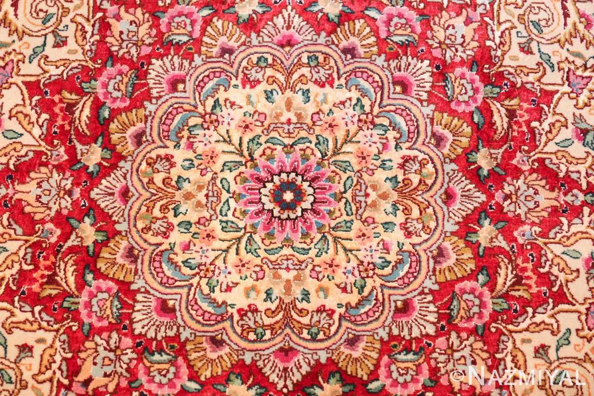 square floral silk and wool vintage tabriz persian rug 60021 center Namziyal