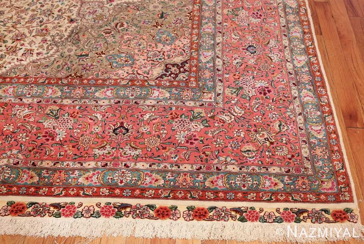 square floral silk and wool vintage tabriz persian rug 60021 corner Namziyal