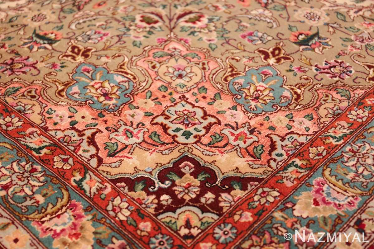 square floral silk and wool vintage tabriz persian rug 60021 design Nazmiyal