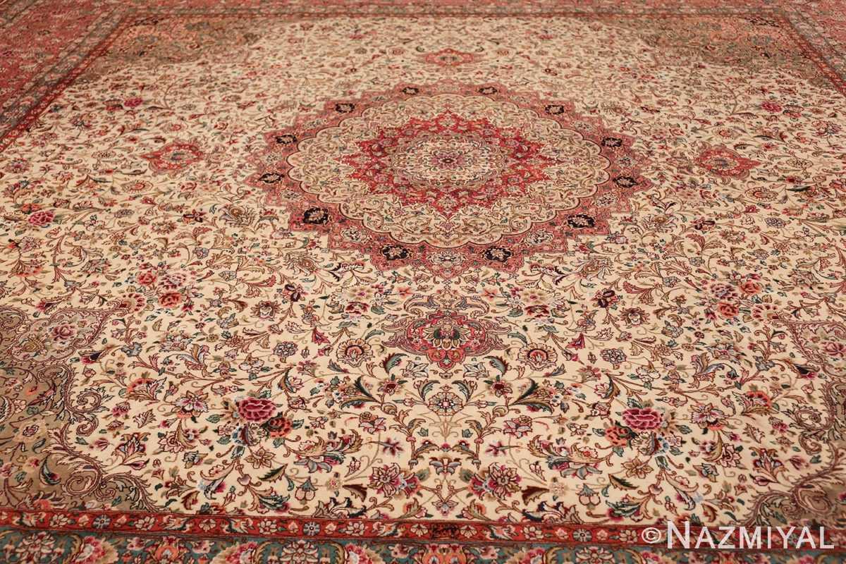 square floral silk and wool vintage tabriz persian rug 60021 field Namziyal