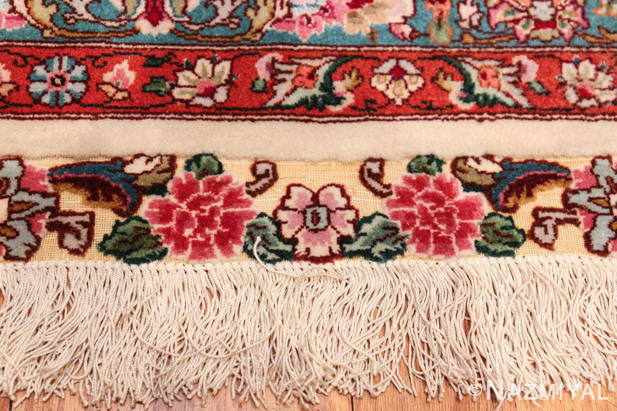 square floral silk and wool vintage tabriz persian rug 60021 fringes Nazmiyal