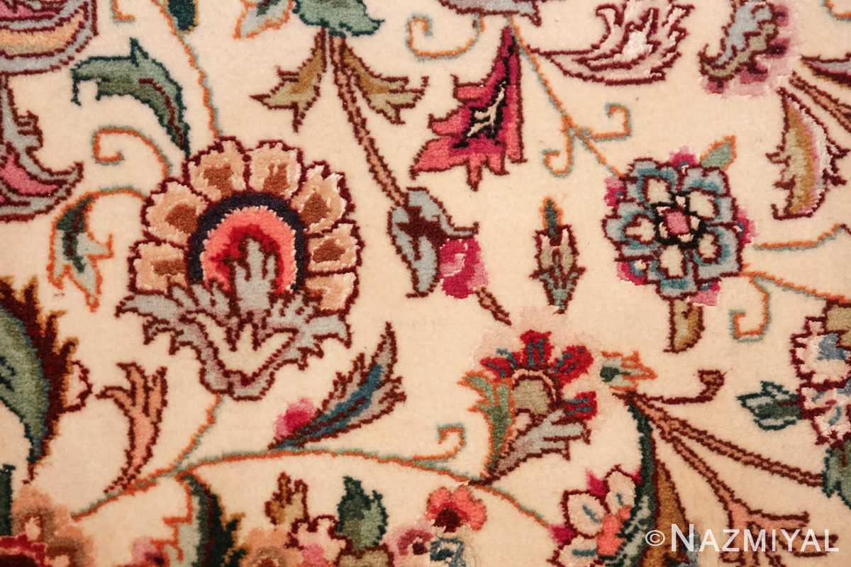 square floral silk and wool vintage tabriz persian rug 60021 ivory Nazmiyal