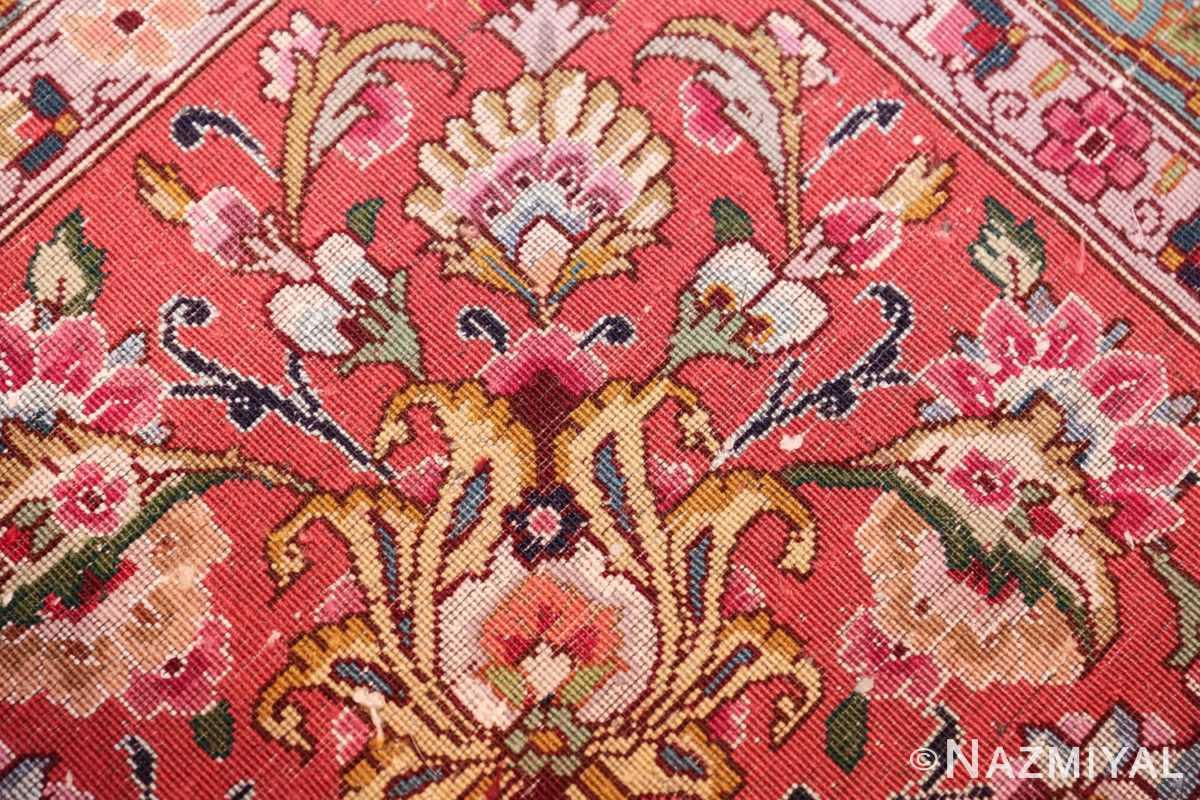 square floral silk and wool vintage tabriz persian rug 60021 knots Nazmiyal