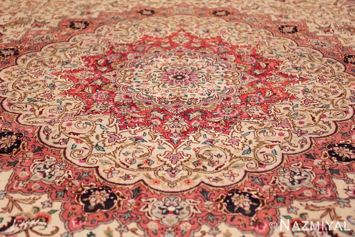 square floral silk and wool vintage tabriz persian rug 60021 medallion Nazmiyal