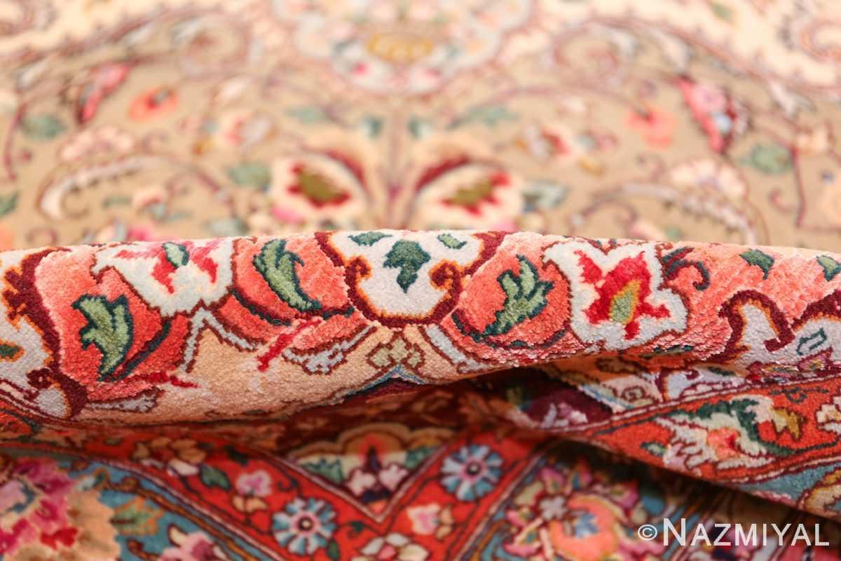 square floral silk and wool vintage tabriz persian rug 60021 pile Nazmiyal