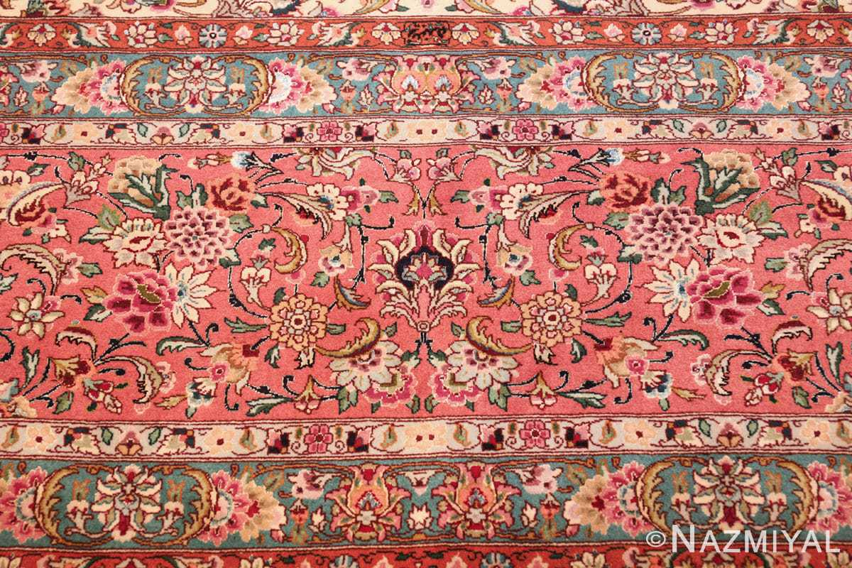 square floral silk and wool vintage tabriz persian rug 60021 pink Namziyal