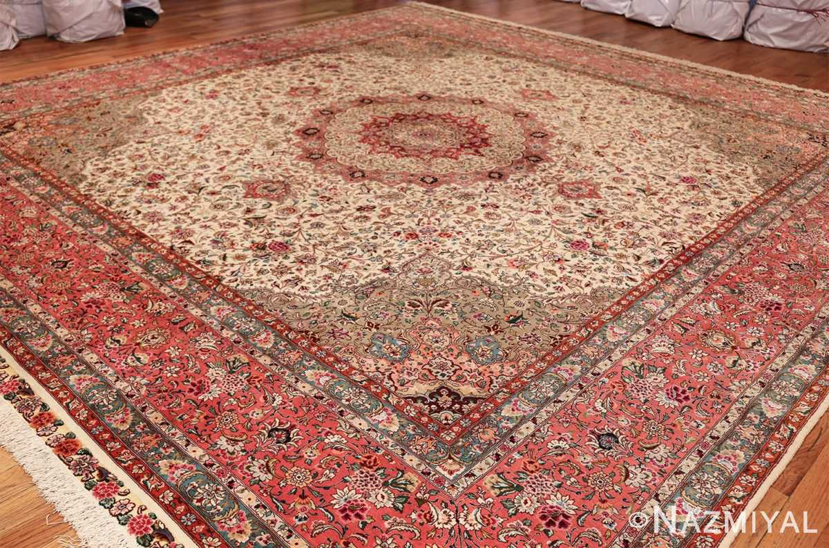 square floral silk and wool vintage tabriz persian rug 60021 side Nazmiyal
