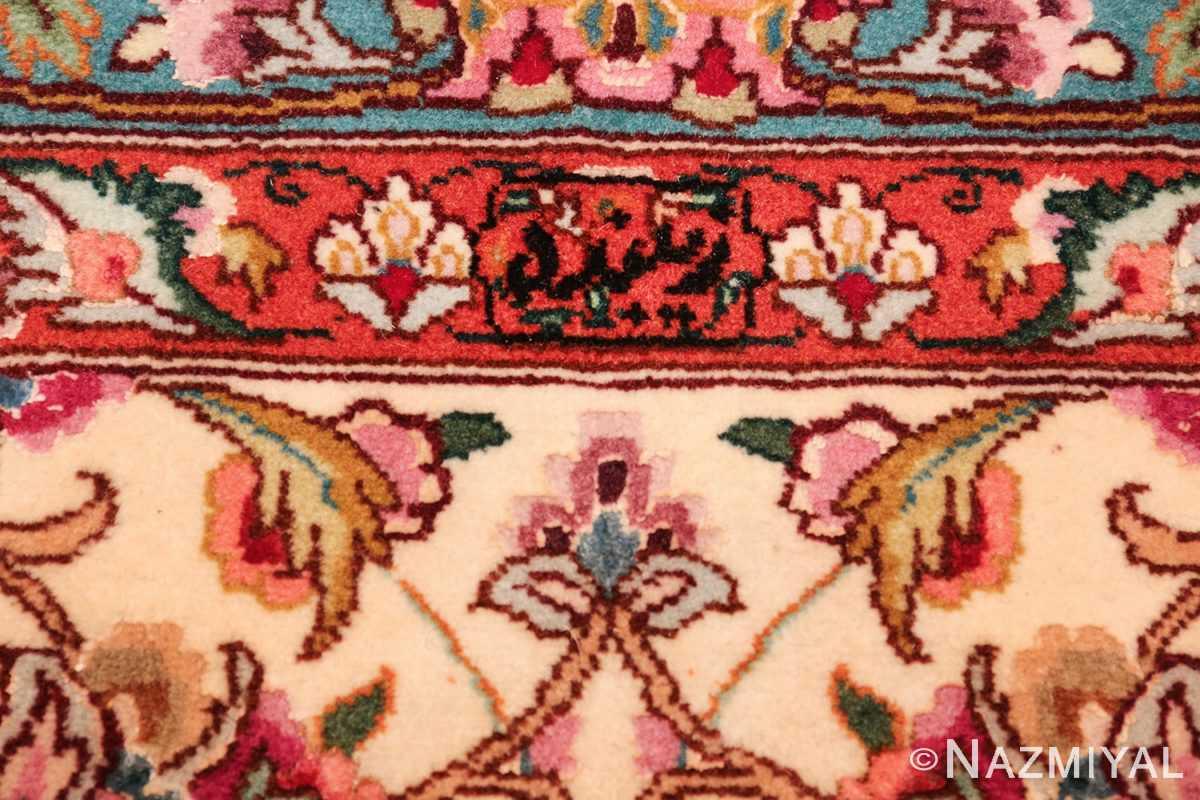 square floral silk and wool vintage tabriz persian rug 60021 signature Nazmiyal