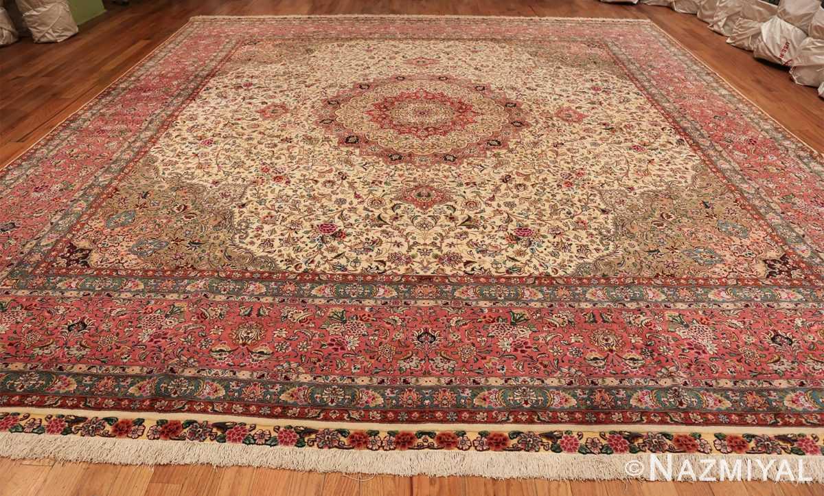 square floral silk and wool vintage tabriz persian rug 60021 whole Nazmiyal