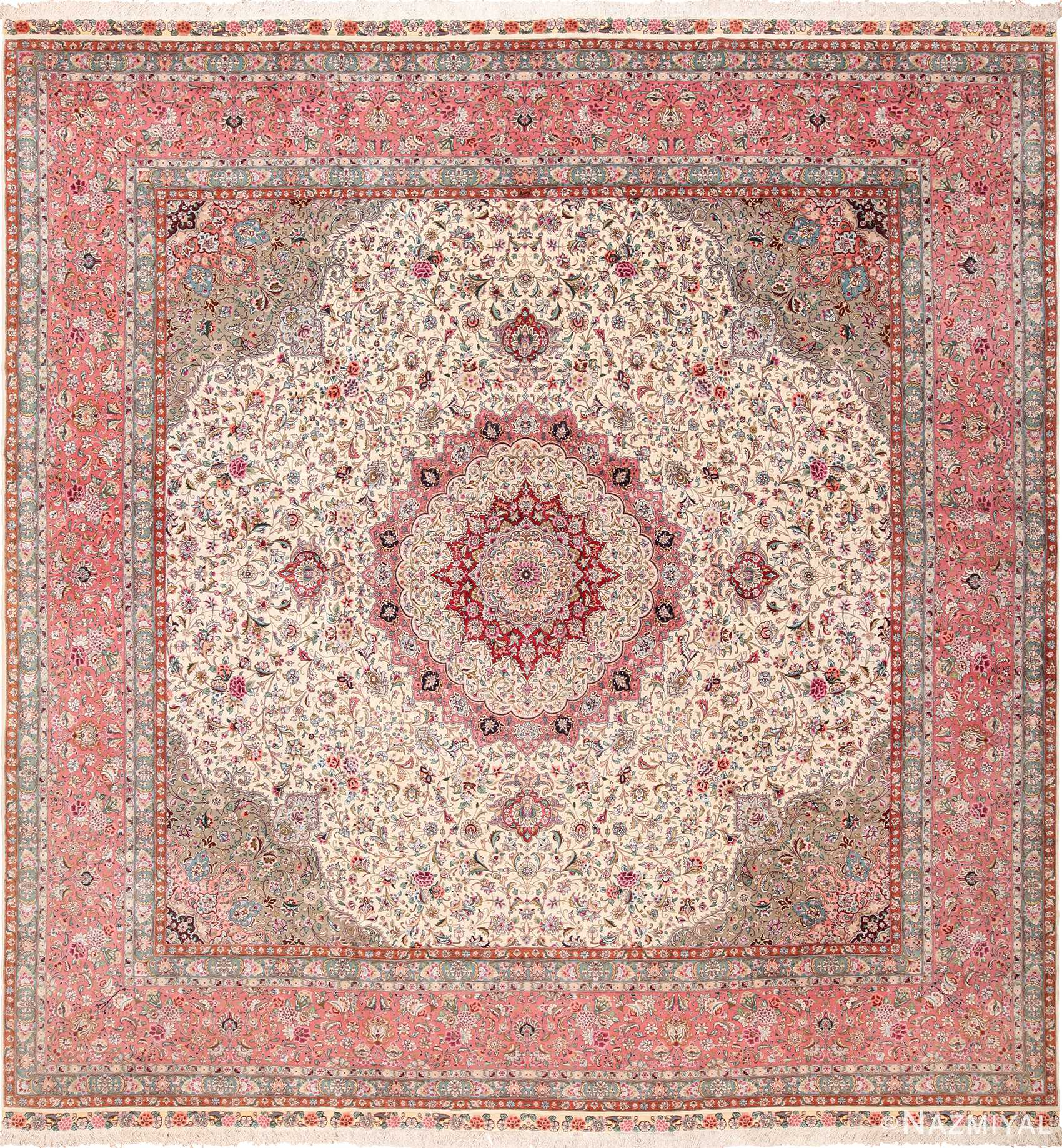 Square Fl Silk And Wool Vintage Tabriz Persian Rug 60021
