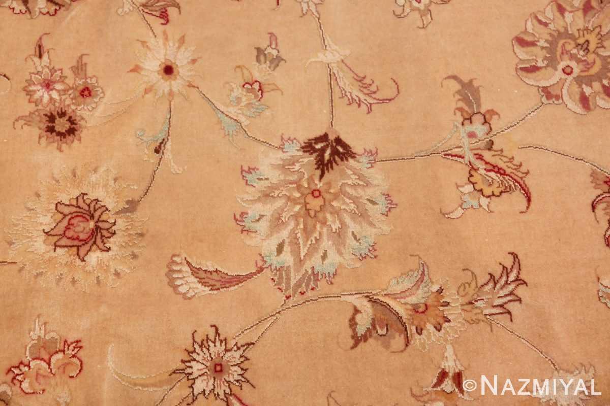 square silk and wool vintage tabriz persian rug 60026 blue Nazmiyal