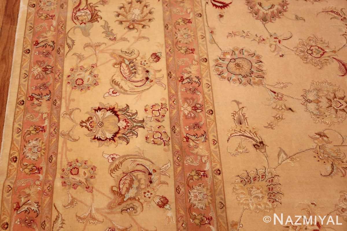 square silk and wool vintage tabriz persian rug 60026 border Namziyal