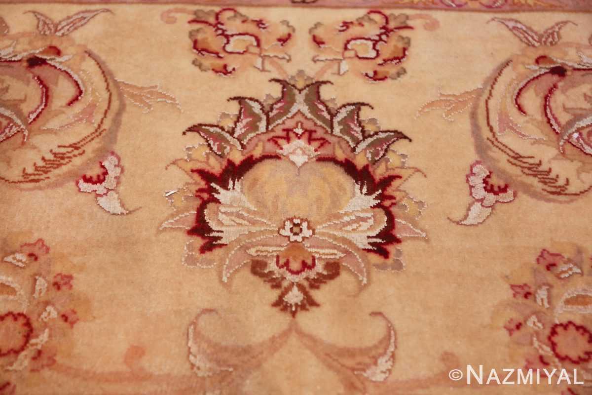 square silk and wool vintage tabriz persian rug 60026 closeup Nazmiyal