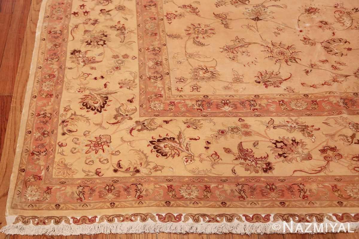 square silk and wool vintage tabriz persian rug 60026 corner Nazmiyal